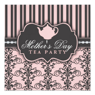 Chic Damask & Stripe Mother's Day Tea Invitation