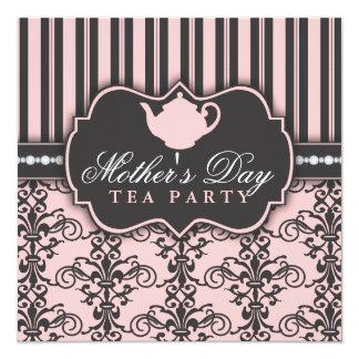 Chic Damask & Stripe Mother's Day Tea Invitation