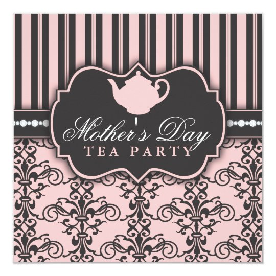 Chic Damask Stripe Mother S Day Tea Invitation Zazzle Com