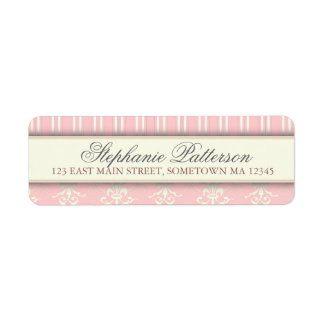 Chic Damask & Stripe Return Address Label | Pink