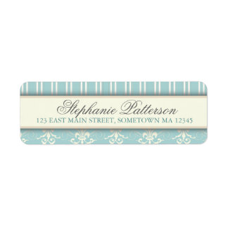 Chic Damask & Stripe Return Address Label | Teal