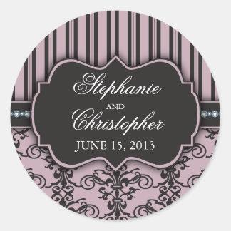 Chic Damask & Stripe Wedding Favor Sticker