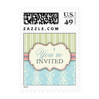 Chic Damask & Stripe You're Invited Postage