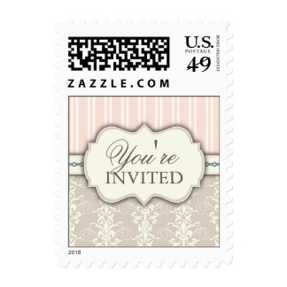 Chic Damask & Stripe You're Invited Postage Peach