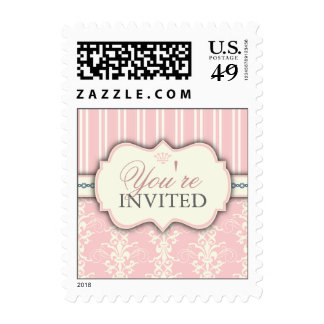 Chic Damask & Stripe You're Invited Postage | Pink