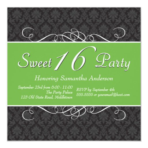 Chic Damask Sweet 16 Birthday Invitations - Green
