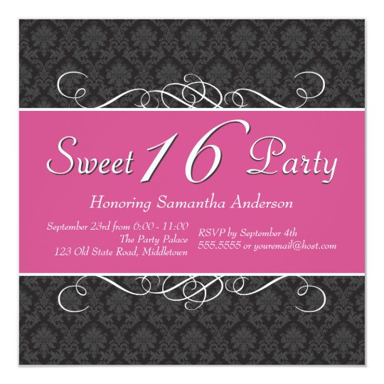 Chic Damask Sweet 16 Birthday Invitations - Pink