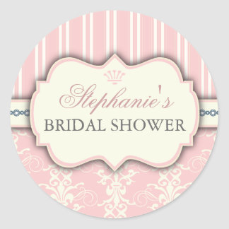 Chic Damask Vintage Bridal Shower Favor Sticker