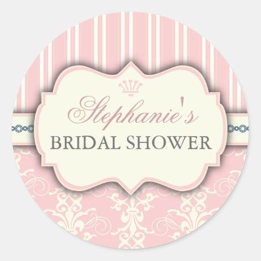 Chic Damask Vintage Bridal Shower Favor Sticker