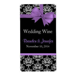 Chic Damask Wedding Mini Wine Labels