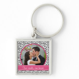 Chic Damask Wedding Photo Template Keychain