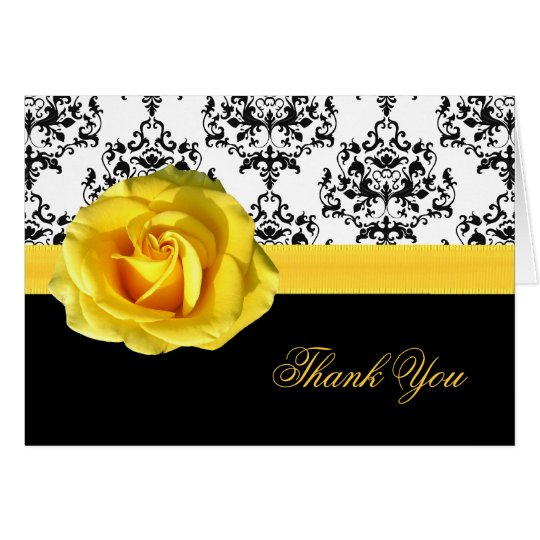 Chic Damask & Yellow Rose Thank You Card