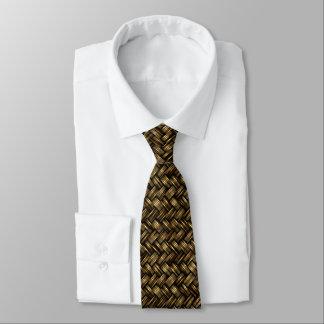 Chic Dark Brown Faux Diagonal Woven Wicker Pattern Neck Tie