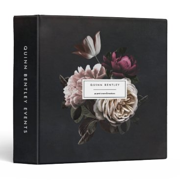 Chic Dark Floral Bouquet Personalized 3 Ring Binder