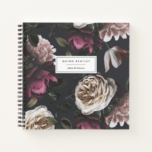 Chic Dark Floral on Black | Personalized Notebook