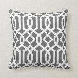Chic Dark Gray and White Moroccan Trellis Pattern Pillow