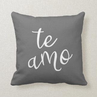 Chic Dark Gray and White Spanish I Love You Te Amo Throw Pillow