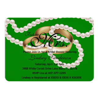 Chic Dark Green Rings With Pearls Bridal Invite