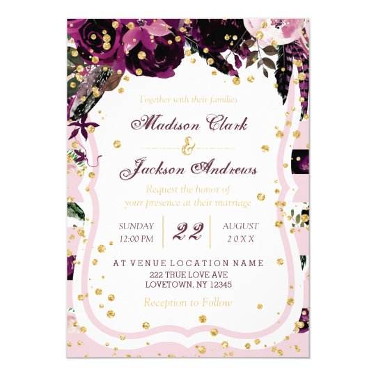Dark Purple Wedding Invitations: Chic Dark Purple Floral & Gold Wedding Invitations