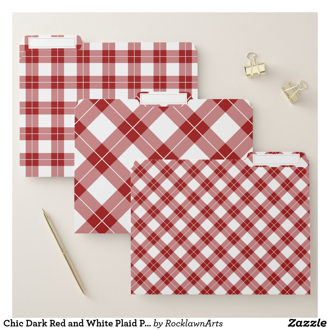 Chic Dark Red and White Plaid Pattern File Folder