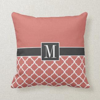 Chic Dark Salmon Quatrefoil Pillows