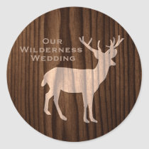 Chic Dark Wood Deer Wild Life Wedding Sticker