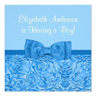 Chic Dazzling Blue Floral With Bow Boy Baby Shower Card