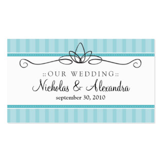 Chic Deco Aqua Blue Wedding Website Card Double-Sided Standard Business Cards (Pack Of 100)