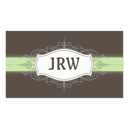 Chic Deco Frame Monogram Mint Business Card