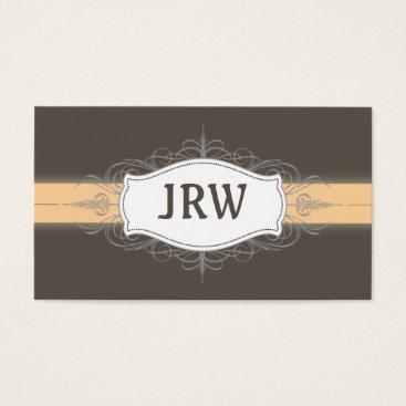 Professional Business Chic Deco Frame Monogram Peach Business Card