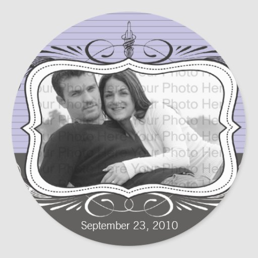 Chic Deco Save the Date Announcement Seal : lilac Classic Round Sticker