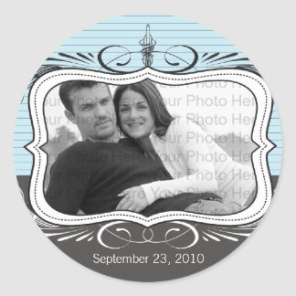 Chic Deco Save the Date Announcement Seal: powder Classic Round Sticker