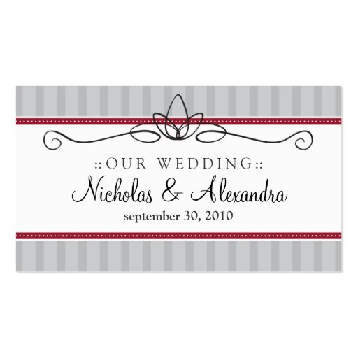 Chic Deco Silver/Red Wedding Website Card Business Card