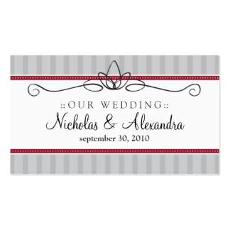 Chic Deco Silver/Red Wedding Website Card Double-Sided Standard Business Cards (Pack Of 100)