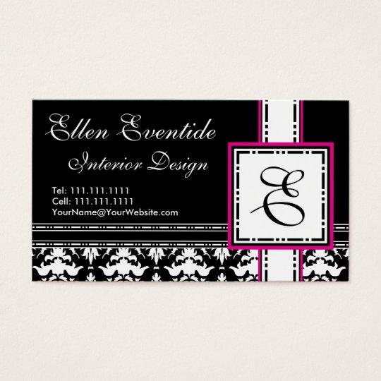 Chic Designer Lady Pink and Black Monogram Business Card