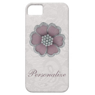 Chic Diamond Flower on White Paisley Lace iPhone 5 Cases