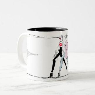 Chic digitally illustrated BF's in Paris mug
