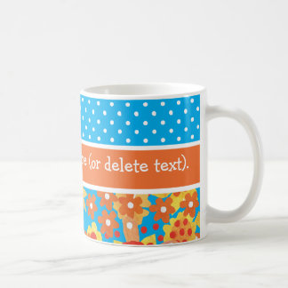 Chic Ditsy Orange and Red Floral Pattern on Blue Coffee Mug