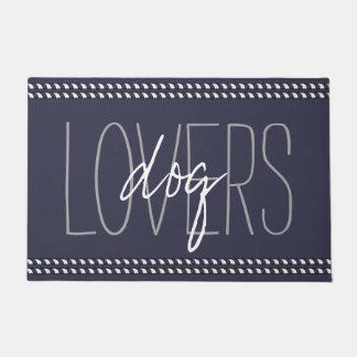 """CHIC DOOR MAT_""""dog LOVERS""""_NAVY/WHITE/GRAY Doormat"""