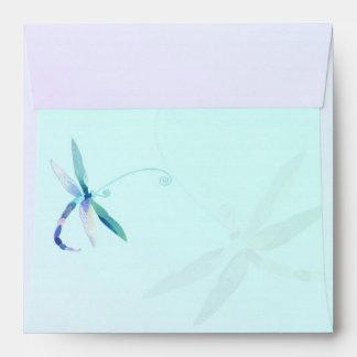 Chic Dragonfly Wedding Invitation Square Envelopes