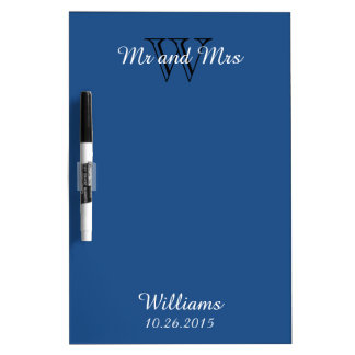 """CHIC DRY ERASER BOARD_""""Mr and Mrs""""_CLASSIC BLUE Dry Erase Board"""