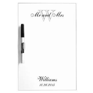"""CHIC DRY ERASER BOARD_""""Mr and Mrs""""_GRAY Dry-Erase Board"""