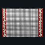 "Chic Edelweiss Gingham Place Mat<br><div class=""desc"">Add a warm European touch to your dinning room or breakfast nook, with this lovely cotton place mat, done in a black and white gingham pattern and red bands, on both ends. Graphics of the white blooms, of the Alpine flower Edelweiss, form garlands running down the red ends of the...</div>"