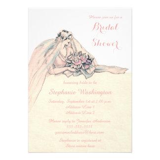 Chic Edwardian Flapper Bride Vintage Bridal Shower Announcements