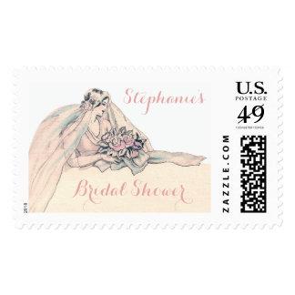 Chic Edwardian Flapper Bride Vintage Bridal Shower Stamps