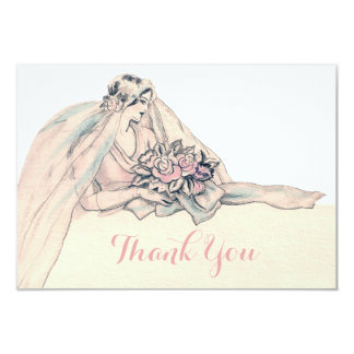Chic Edwardian Flapper Bride Vintage Thank You Card
