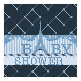 Chic Eiffel Tower Blue Baby Shower 5.25x5.25 Square Paper Invitation Card