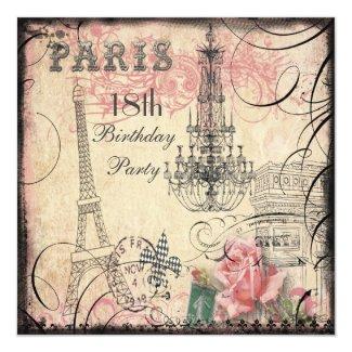 Chic Eiffel Tower & Chandelier 18th Birthday Card