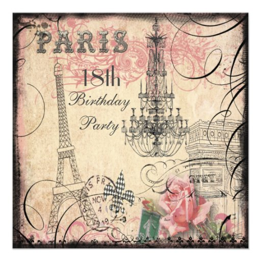 Chic Eiffel Tower & Chandelier 18th Birthday Personalized Invitations