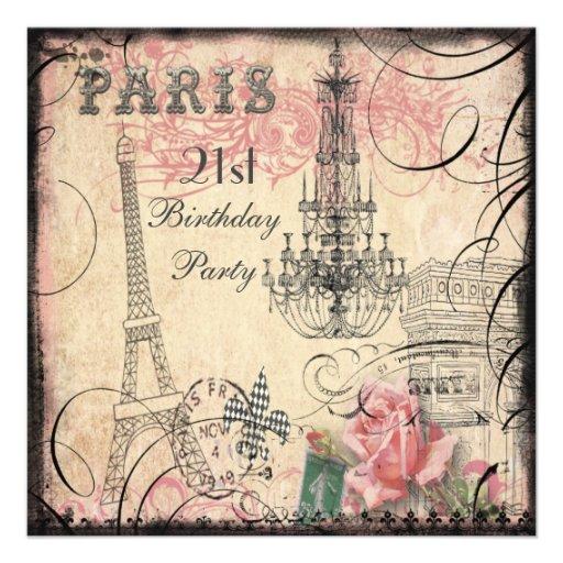 Chic Eiffel Tower & Chandelier 21st Birthday Personalized Invitation